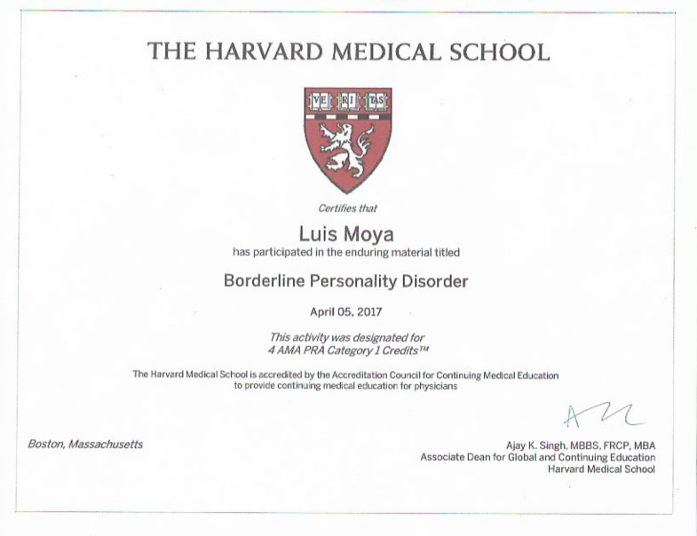 The Harvard Medical School   Borderline Personality Disorder   See  Certificate See Certificate
